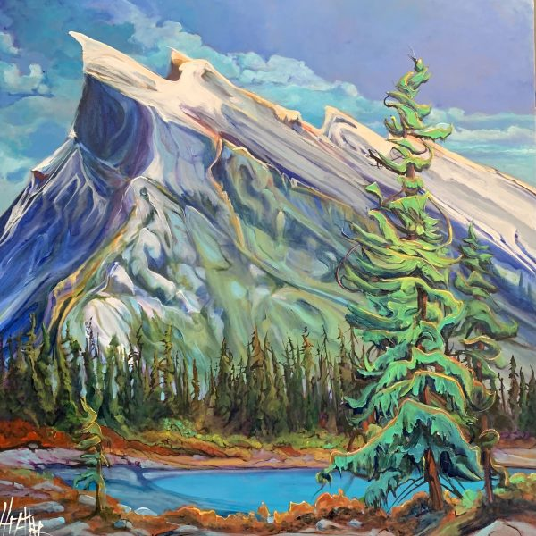 Enchanting Mount Rundle, acrylic landscape by Heather Pant   Effusion Art Gallery + Cast Glass Studio, Invermere BC
