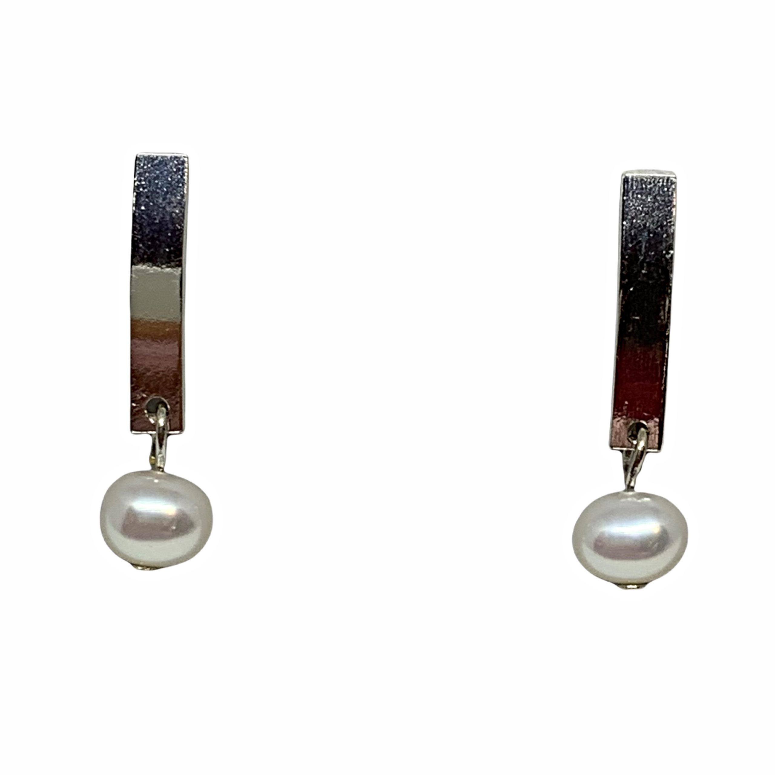 Handmade sterling silver and pearl earrings by A&R Jewellery | Effusion Art Gallery + Cast Glass Studio, Invermere BC