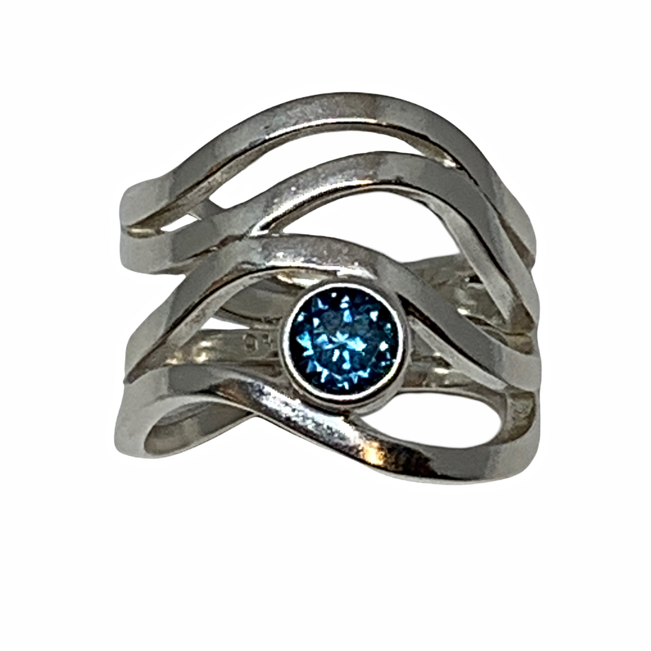 Handmade sterling silver and London blue topaz ring by A&R Jewellery   Effusion Art Gallery + Cast Glass Studio, Invermere BC