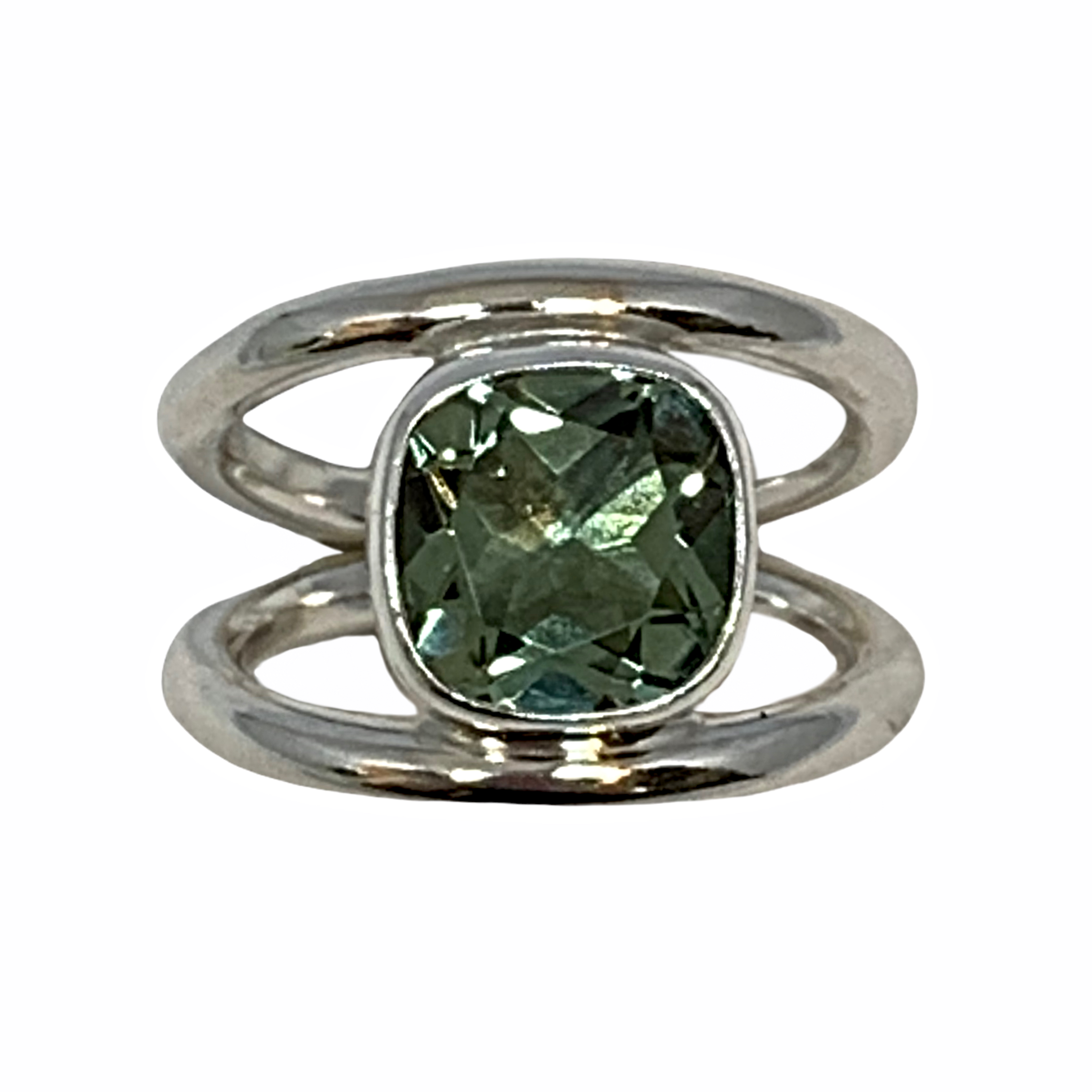 Handmade sterling silver and green amethyst ring by A&R Jewellery | Effusion Art Gallery + Cast Glass Studio, Invermere BC