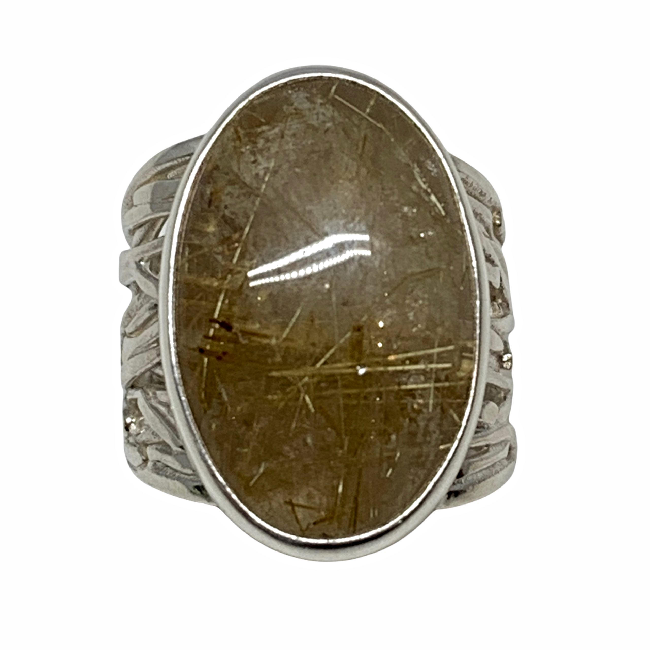 Handmade sterling silver and rutilated quartz ring by A&R Jewellery | Effusion Art Gallery + Cast Glass Studio, Invermere BC