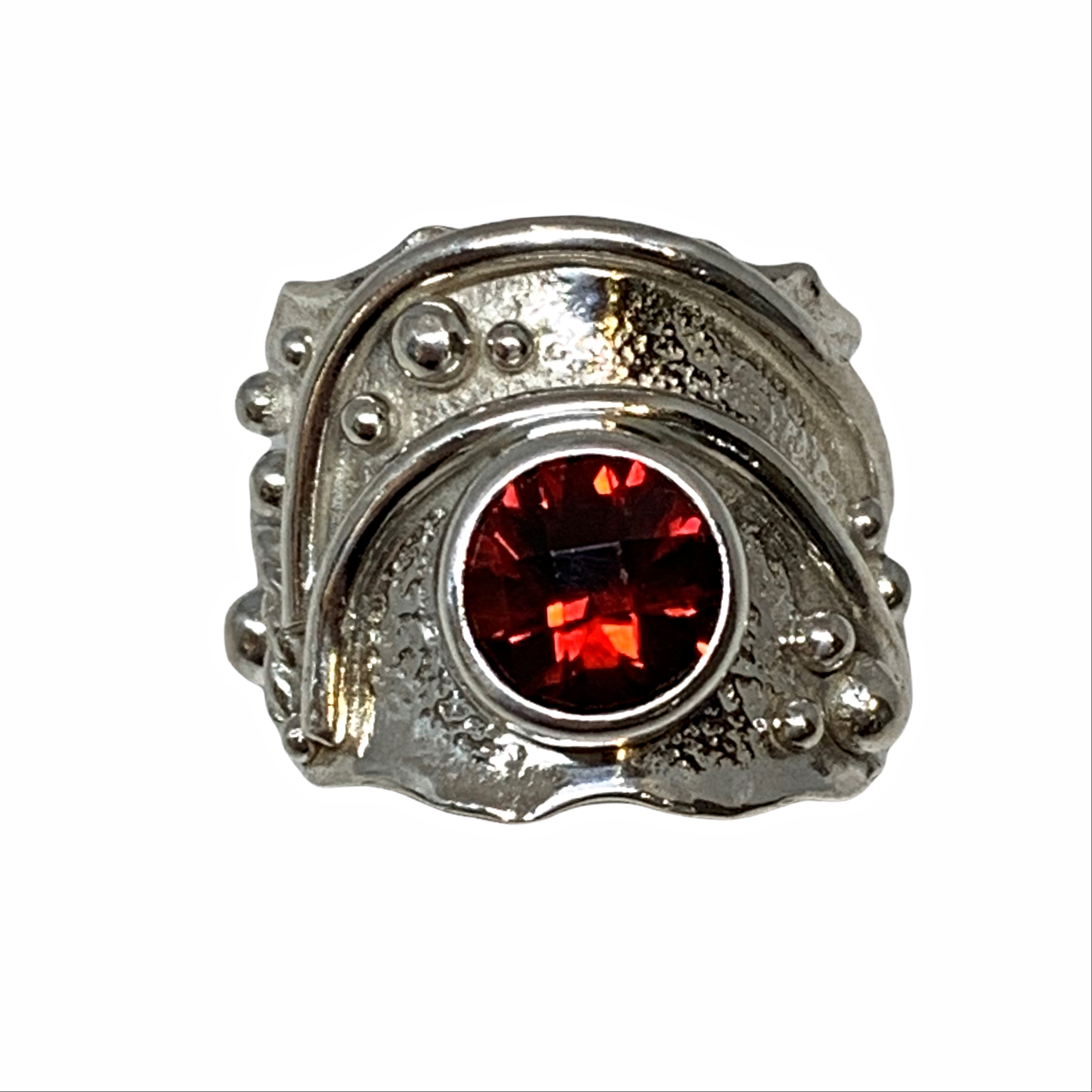 Handmade sterling silver and garnet ring by A&R Jewellery   Effusion Art Gallery + Cast Glass Studio, Invermere BC