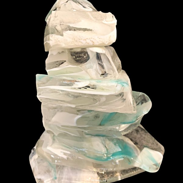Rocky Mountain Cairn, cast glass sculpture by Heather Cuell | Effusion Art Gallery + Cast Glass Studio, Invermere BC