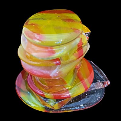Rocky Mountain Cairn, cast glass sculpture by Heather Cuell   Effusion Art Gallery + Cast Glass Studio, Invermere BC