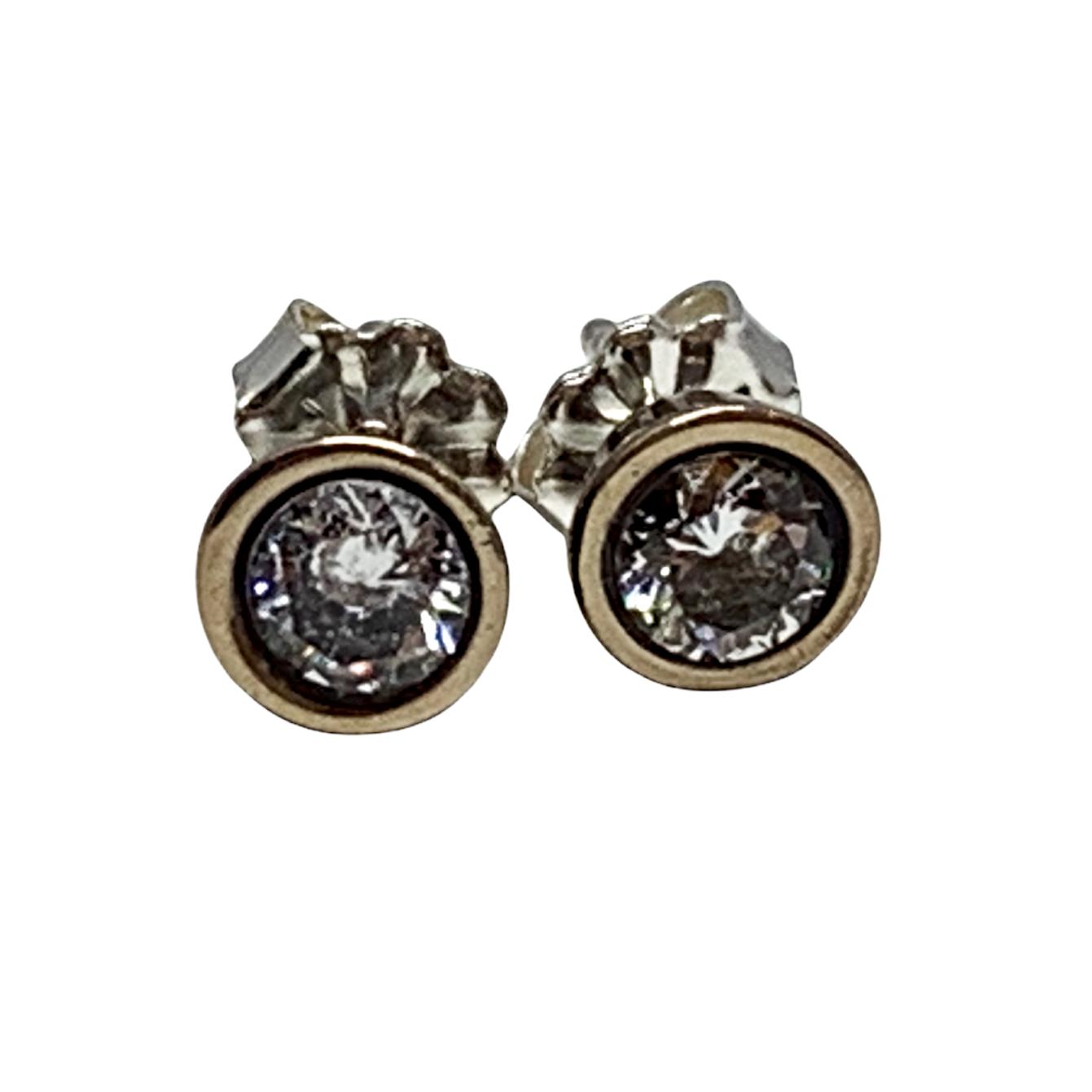 Bronze + CZ stud earrings by Karyn Chopik | Effusion Art Gallery + Cast Glass Studio, Invermere BC