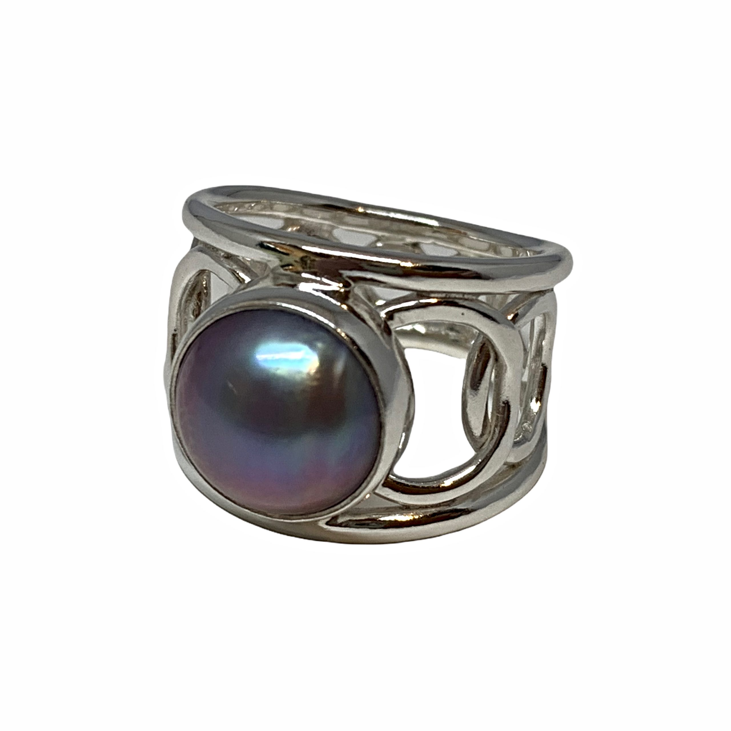 Handmade sterling silver and pink Keshi pearl ring by A&R Jewellery | Effusion Art Gallery + Cast Glass Studio, Invermere BC