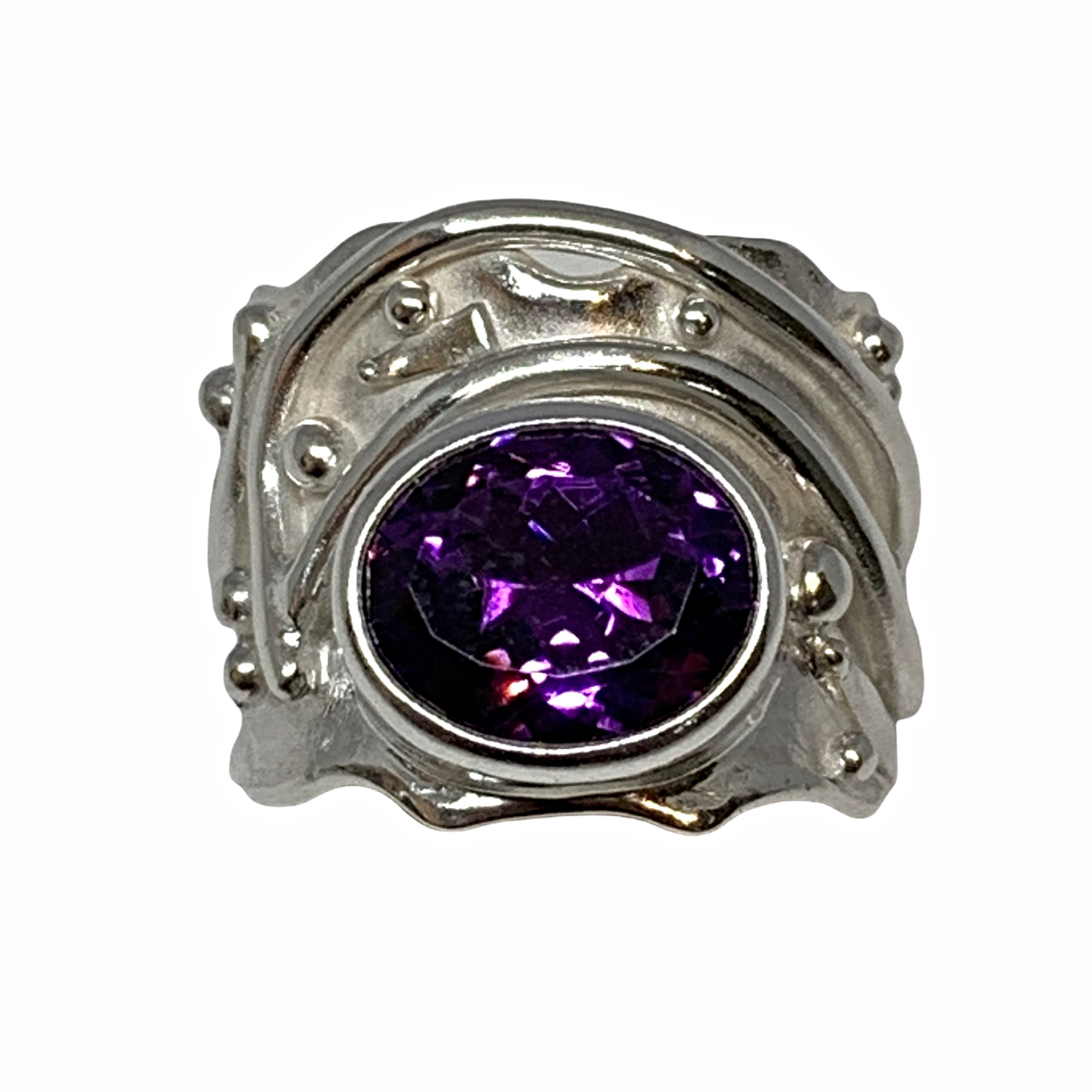 Handmade sterling silver and amethyst ring by A&R Jewellery   Effusion Art Gallery + Cast Glass Studio, Invermere BC