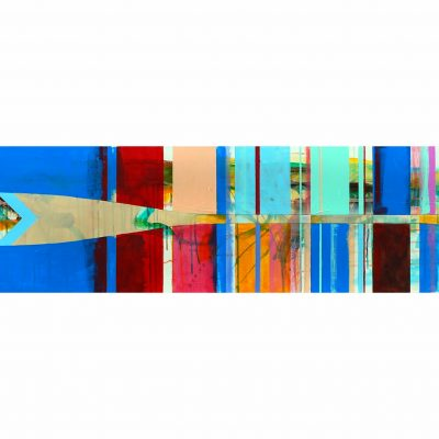 Aviron 30-02, mixed media paddle painting by Sylvain Leblanc   Effusion Art Gallery + Cast Glass Studio, Invermere BC
