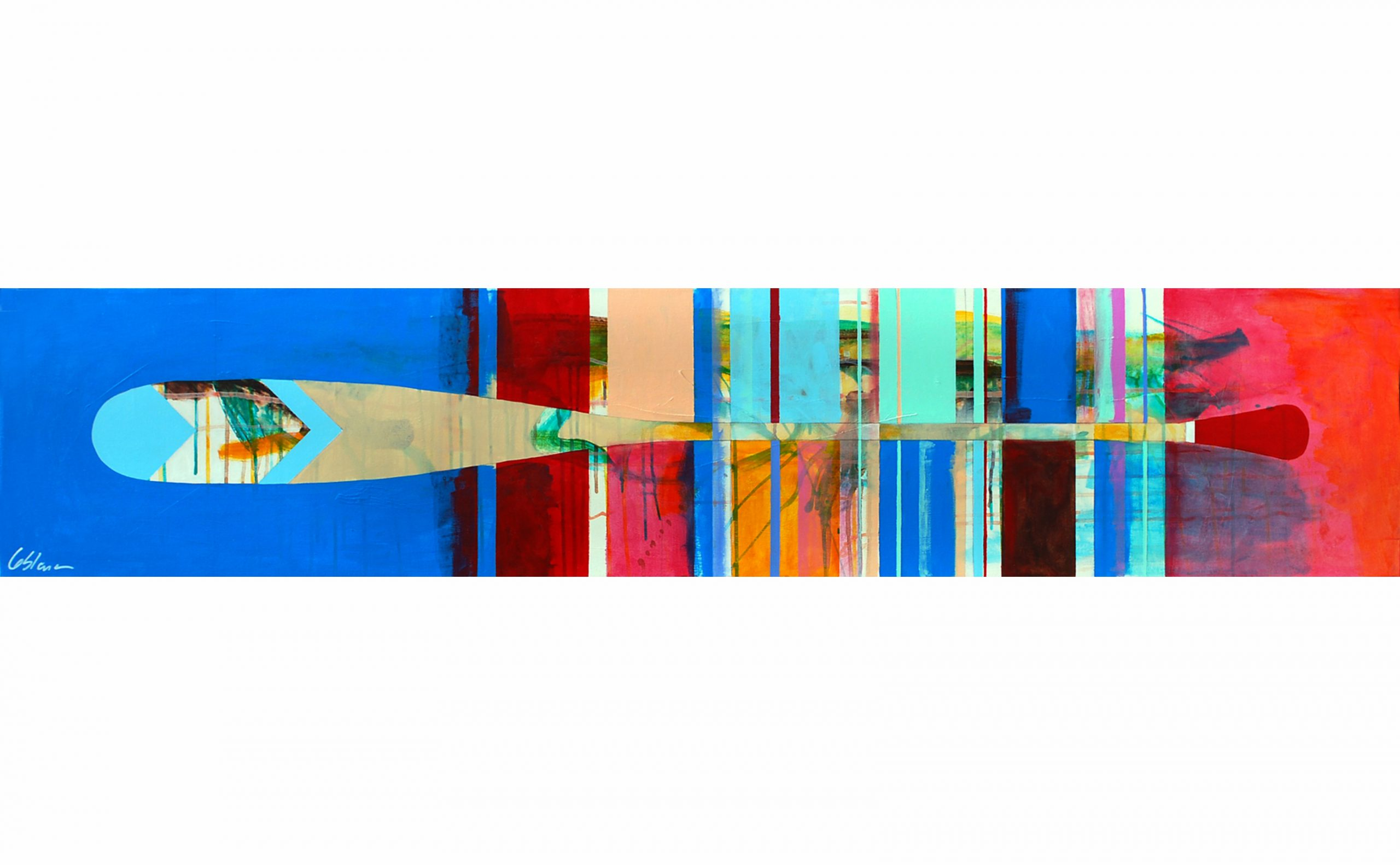Aviron 30-02, mixed media paddle painting by Sylvain Leblanc | Effusion Art Gallery + Cast Glass Studio, Invermere BC