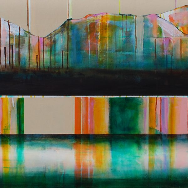 Lac couleur émeraude, mixed media canoe painting by Sylvain Leblanc   Effusion Art Gallery + Cast Glass Studio, Invermere BC