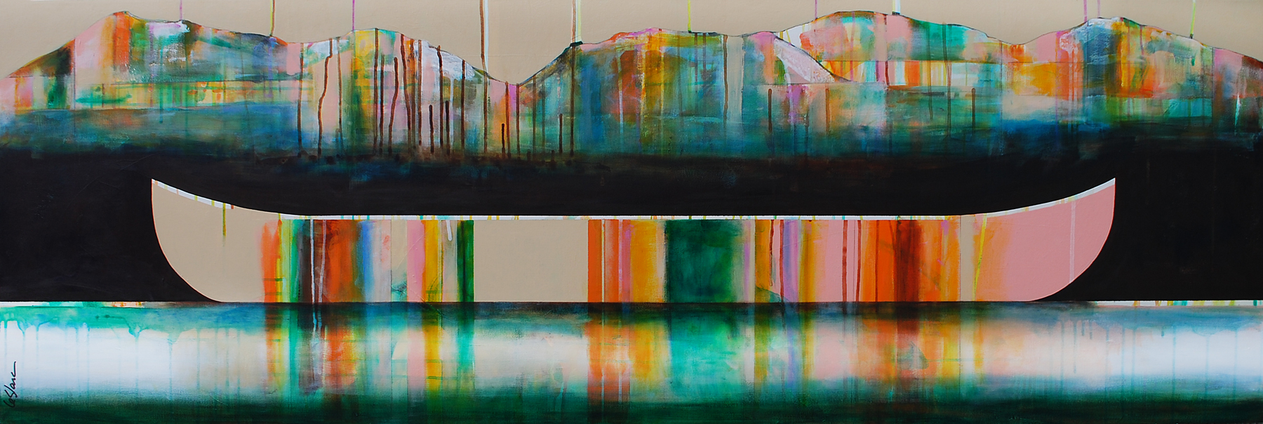 Lac couleur émeraude, mixed media canoe painting by Sylvain Leblanc | Effusion Art Gallery + Cast Glass Studio, Invermere BC
