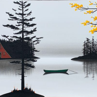 The Sounds of Silence, mixed media landscape by Natasha Miller   Effusion Art Gallery + Cast Glass Studio, Invermere BC