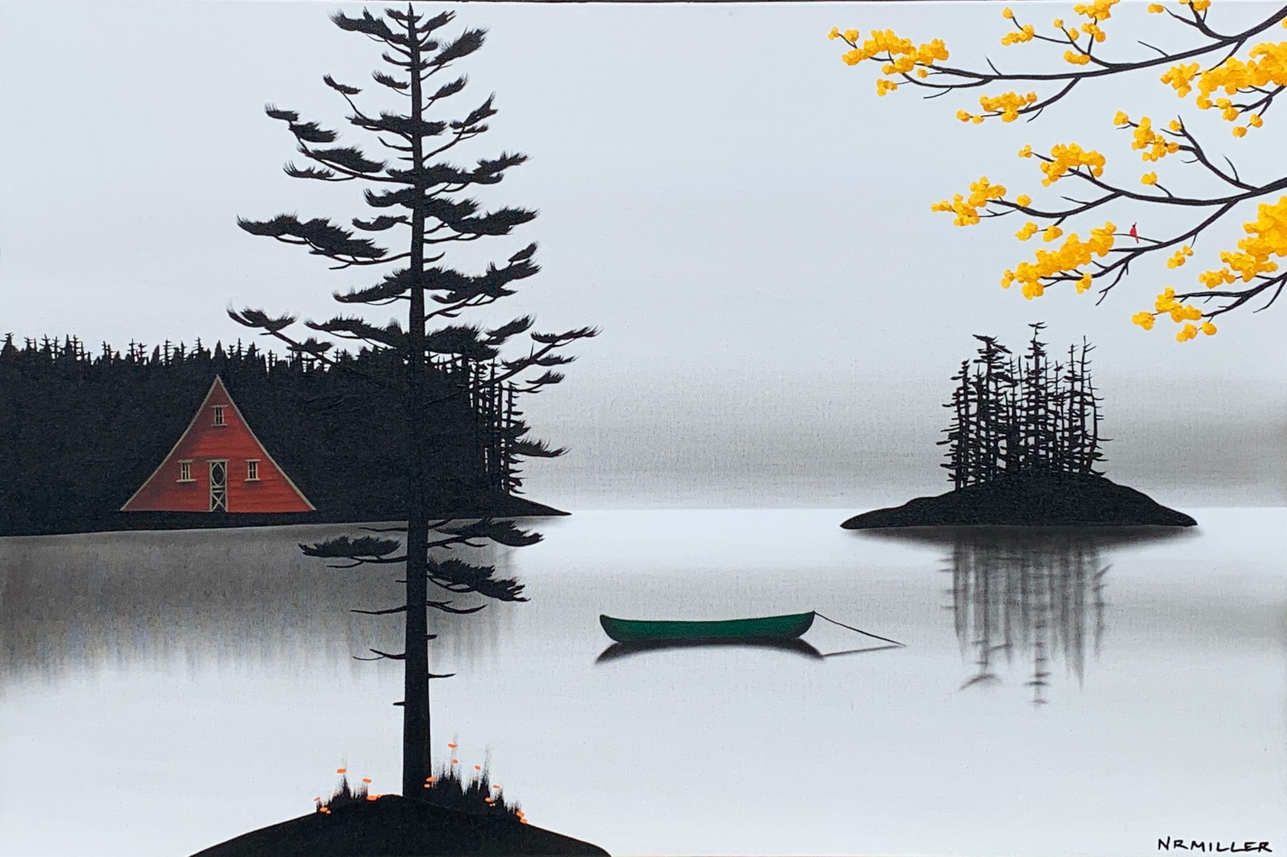 The Sounds of Silence, mixed media landscape by Natasha Miller | Effusion Art Gallery + Cast Glass Studio, Invermere BC