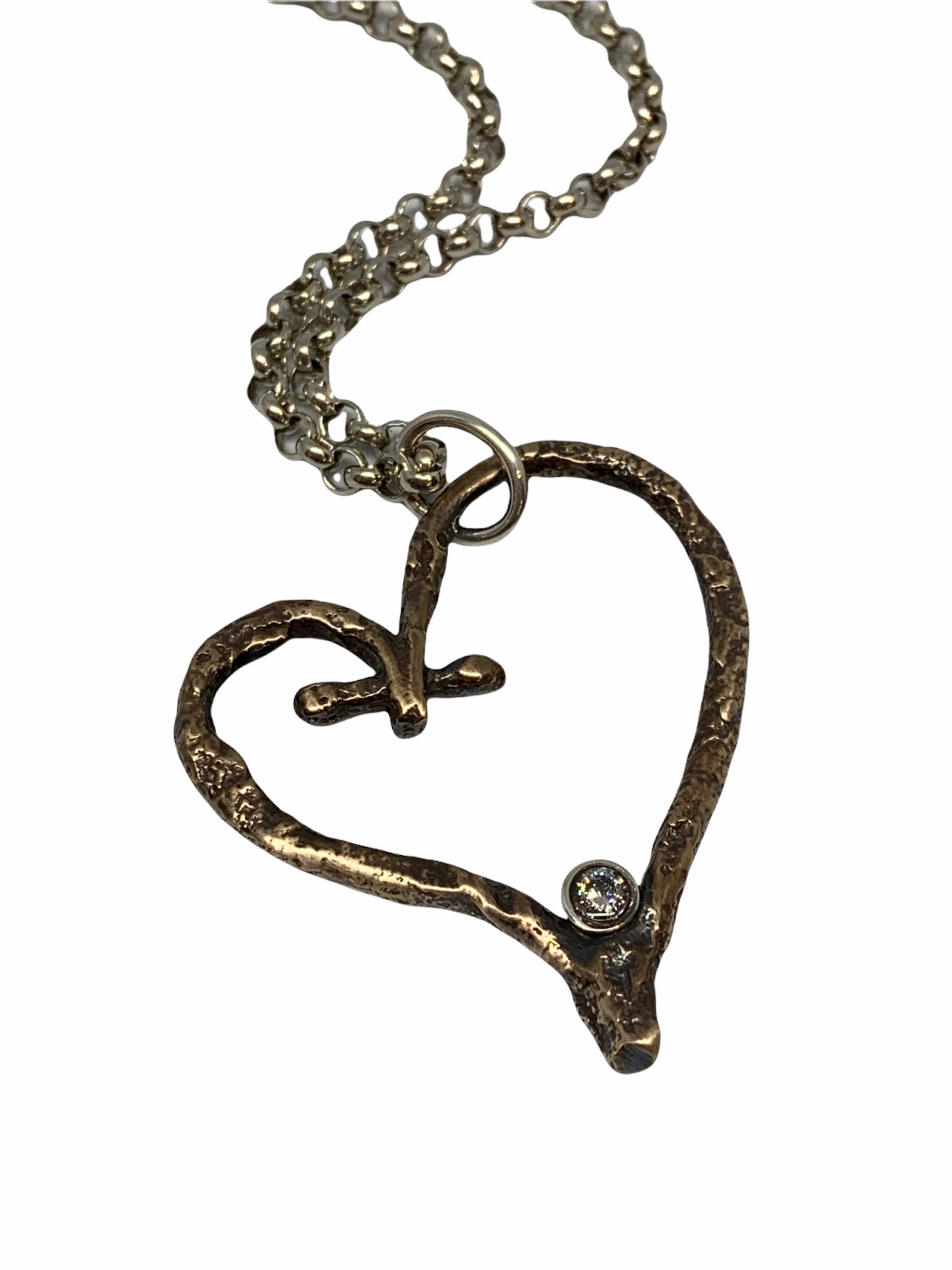 Bronze, Sterling Silver, + CZ Heart Necklace by Karyn Chopik   Effusion Art Gallery + Cast Glass Studio, Invermere BC