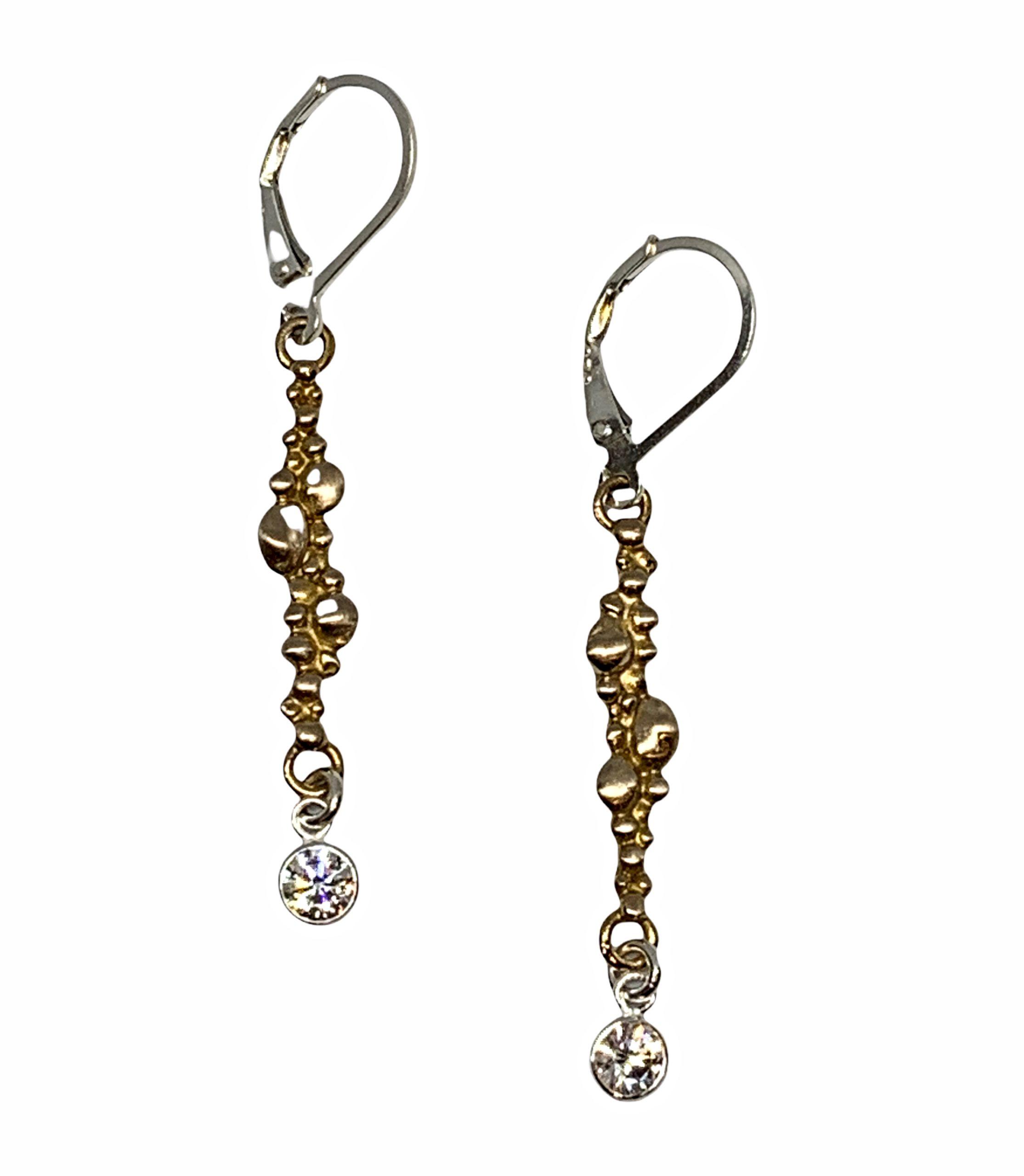 Bronze + CZ Earrings by Karyn Chopik   Effusion Art Gallery + Cast Glass Studio, Invermere BC