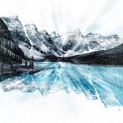 Moraine Lake Snow Globe by Stacey Bodnaruk   Effusion Art Gallery + Cast Glass Studio, Invermere BC