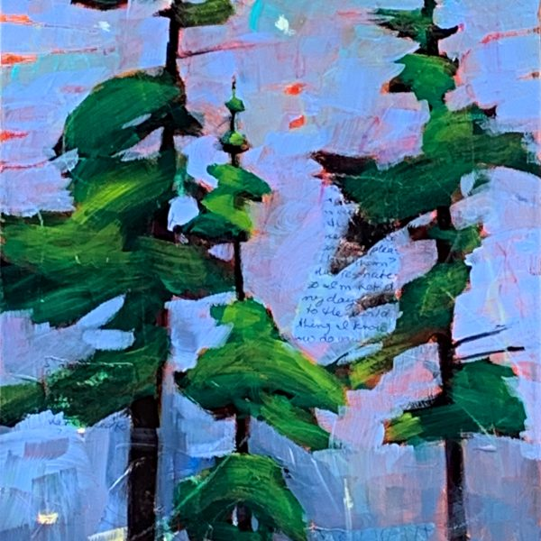 New Day, mixed media tree painting by Connie Geerts | Effusion Art Gallery + Cast Glass Studio, Invermere BC