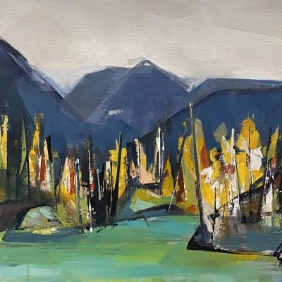 Purcell Mountains, landscape painting by Katie Leahul   Effusion Art Gallery + Cast Glass Studio, Invermere BC