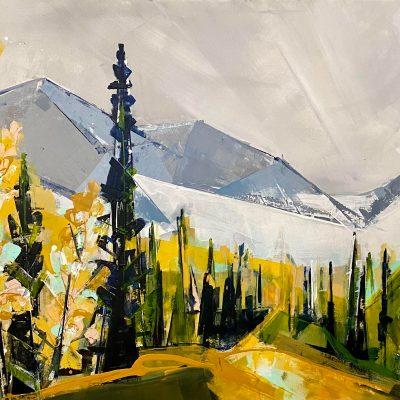 September Larches, landscape painting by Katie Leahul   Effusion Art Gallery + Cast Glass Studio, Invermere BC