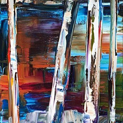 Follow My Tracks 1, mixed media landscape painting by Kimberly Kiel   Effusion Art Gallery + Cast Glass Studio, Invermere BC