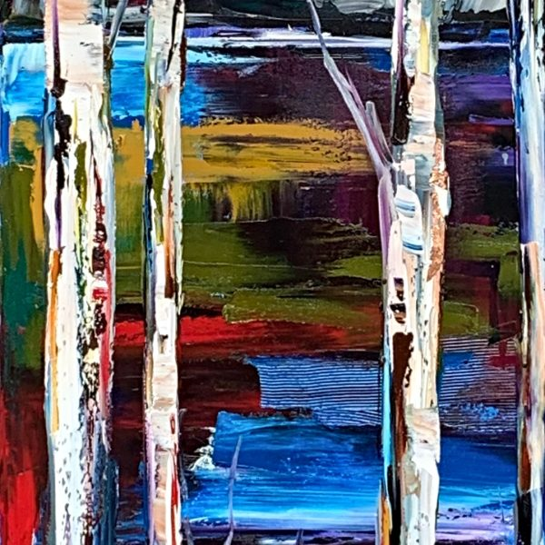 Follow My Tracks 4, mixed media landscape painting by Kimberly Kiel | Effusion Art Gallery + Cast Glass Studio, Invermere BC