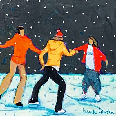 Snowflakes and Skates 2, nighttime skating painting by Eleanor Lowden   Effusion Art Gallery + Cast Glass Studio, Invermere BC