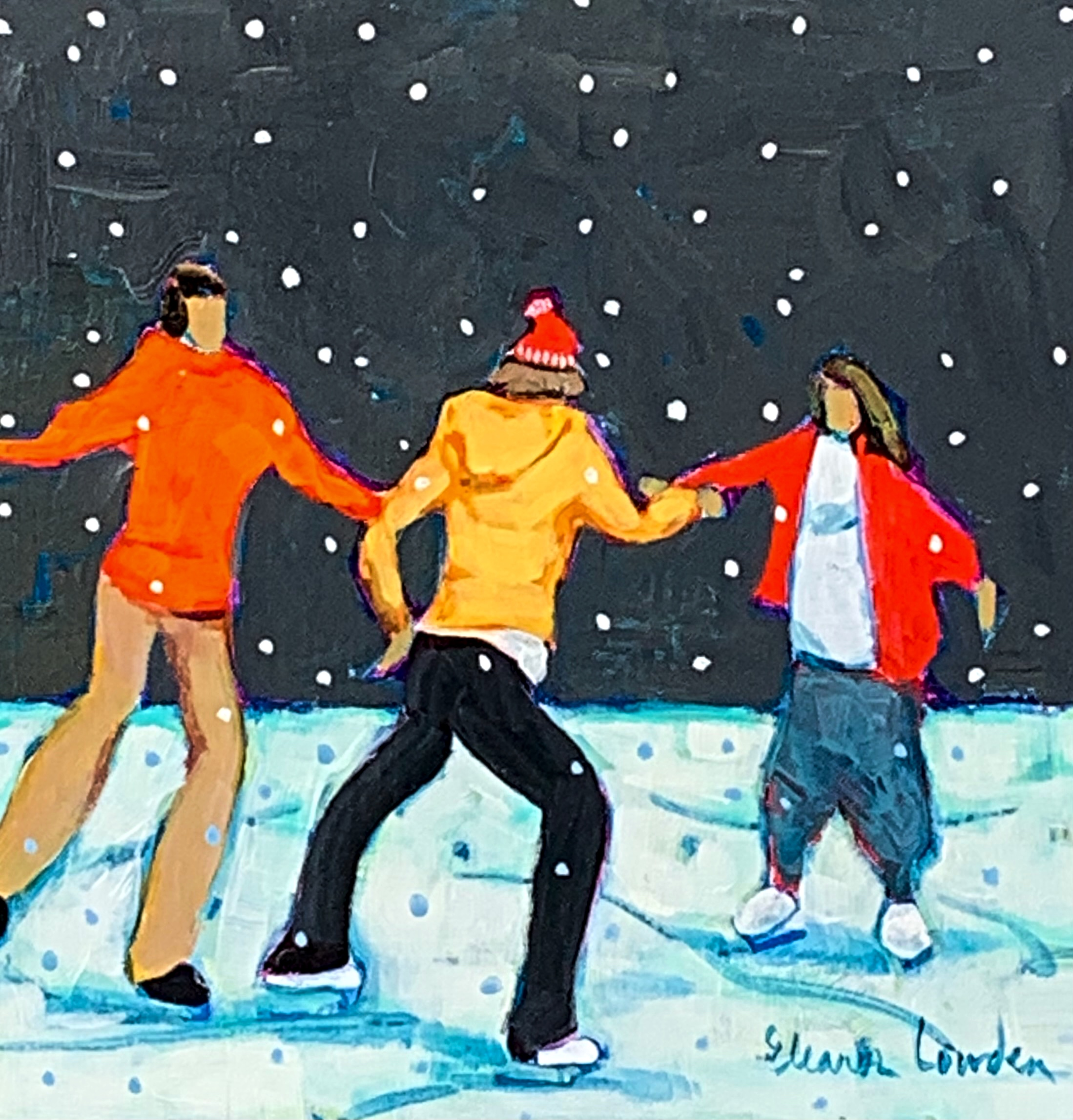 Snowflakes and Skates 2, nighttime skating painting by Eleanor Lowden | Effusion Art Gallery + Cast Glass Studio, Invermere BC