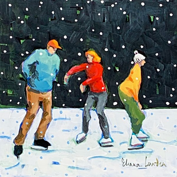 Snowflakes and Skates, nighttime skating painting by Eleanor Lowden | Effusion Art Gallery + Cast Glass Studio, Invermere BC