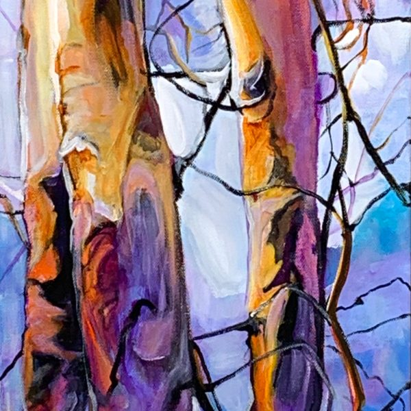 Mountain Birch, acrylic landscape painting by Heather Pant | Effusion Art Gallery + Cast Glass Studio, Invermere BC