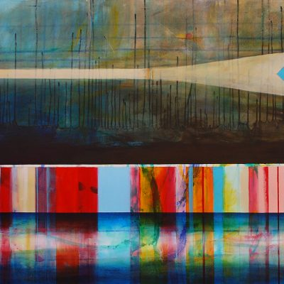 Il n'y a pas si longtemps, mixed media canoe painting by Sylvain Leblanc   Effusion Art Gallery + Cast Glass Studio, Invermere BC