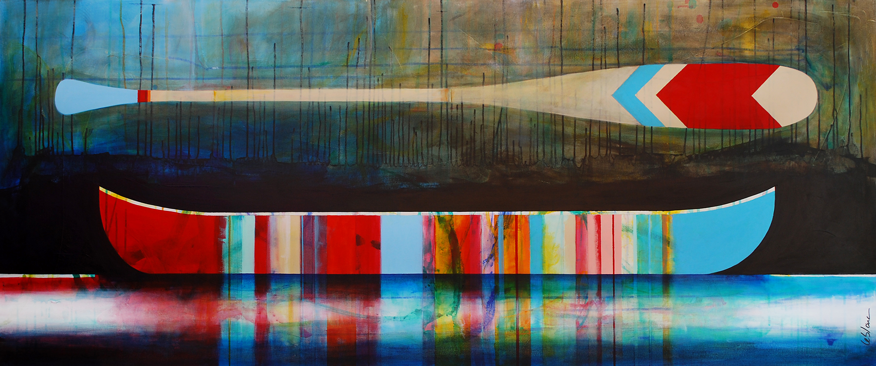 Il n'y a pas si longtemps, mixed media canoe painting by Sylvain Leblanc | Effusion Art Gallery + Cast Glass Studio, Invermere BC