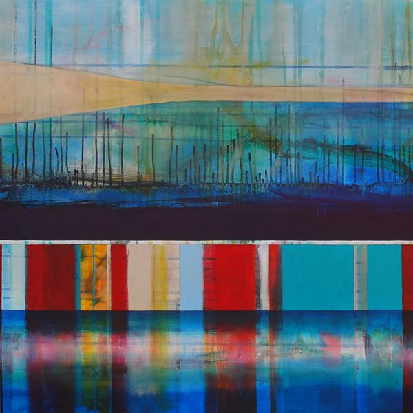 Le bonheur à pert de vue, mixed media canoe painting by Sylvain Leblanc | Effusion Art Gallery + Cast Glass Studio, Invermere BC