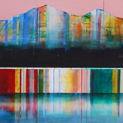Rein de plus à dire, mixed media canoe painting by Sylvain Leblanc   Effusion Art Gallery + Cast Glass Studio, Invermere BC