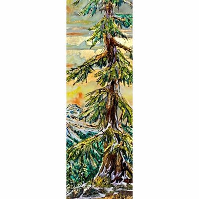 Where do I Fit, mixed media tree painting by David Zimmerman    Effusion Art Gallery + Cast Glass Studio, Invermere BC