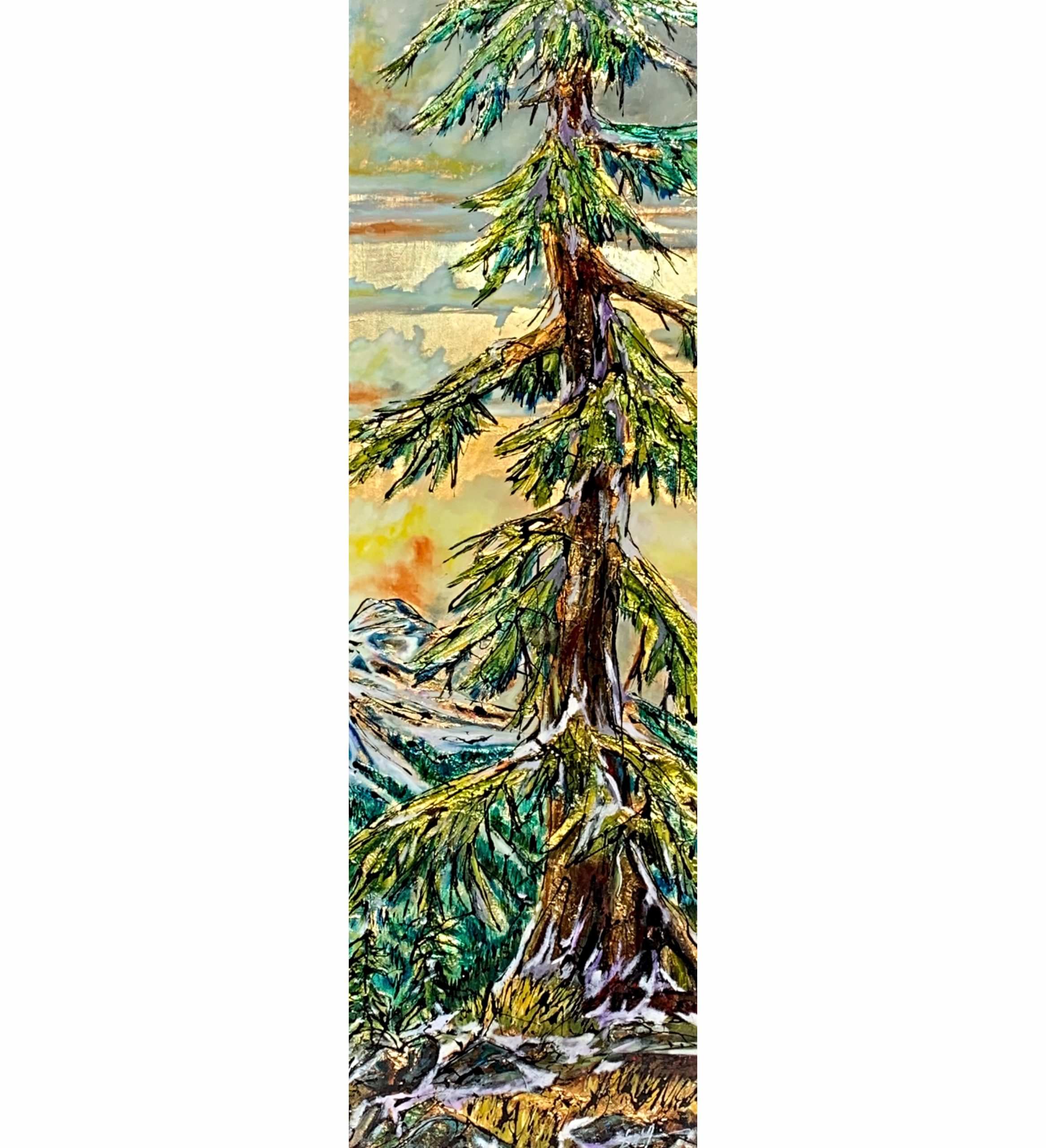 Where do I Fit, mixed media tree painting by David Zimmerman  | Effusion Art Gallery + Cast Glass Studio, Invermere BC